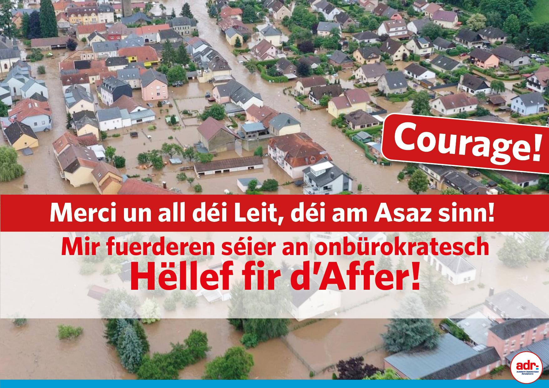 Héichwaasserkatastroph: ADR freet Bilan!